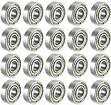 608 ZZ Kugellager, 20 STÜCKE 608zz Metall doppelt geschirmt Miniatur-Rillenskateboard-Kugella (Silber-20 Pack)