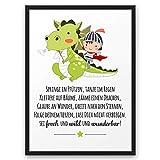 Junge DRACHE Frech Wild Wunderbar ABOUKI Kunstdruck Poster Bild Geschenk-Idee Baby Kinder Jungen Taufe Geburt Geburtstag - ungerahmt DIN A4