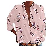 Kpasati Damen losen Chiffon-Modehemd drucken tägliche Freizeitkleidung gelb, rosa, weiß, S-XXXXXL