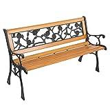 Gartenbank– 2-Sitzer Holzbank mit Armlehnen & Rückenlehne – wetterfeste Sitzbank Seitenelemente aus Gusseisen