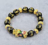 Plztou Feng Shui Pixiu Armband Emaille Sechs Sechs Glattes Glück Fu/Glück Pi Yao Armband Heilung Chakra Kristall Armreif Talisman Amulett Für Wohlstand Bonus Geld Viel Glück, klein für Frauen