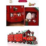 Detazhi 24-Zoll-Länge-Weihnachts-hölzerner Adventskalender-Zug mit handgemalten Figuren und 24 Schubladen, um Süßigkeiten oder kleine Geschenke zu füllen