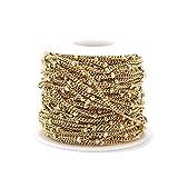 SS01 2 Meter Edelstahl Goldton Satellitenketten Perlen Kugelketten Ketten für DIY Halskette Armband Anklet Schmuckherstellung Yc0408 (Color : Curb Beaded Chain)