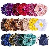 Oladwolf 20 Stück Haargummis Samt Mädchen Set, Scrunchies Bunte Samt Farben Weich Elastische Gummibänder Haarbänder für Damen, Mit 1 Stück einer Aufbewahrungstasche.