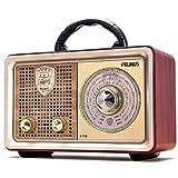 PRUNUS J-110BT FM AM(MW) SW Tragbares Bluetooth AUX MP3 Radio. Mit klassischem Vintage-Retro-Gehäuse in Holzoptik. Integrierter 5-W-Lautsprecher, Keine Kopfhörerbuchse.(silbern)