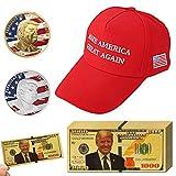 Vanproo 13 Stück 2018 USA Präsident Donald Trump, 10 Stück Goldfolie 1000 Dollar Schein + 1 Trump Sport Hut + 2 Stück offizielle authentische 24 Karat vergoldete Donald Trump Gedenkmünzen in G