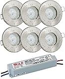 6er Set 12Volt Bad Einbaustrahler IP65 Farbe: Edelstahl gebürstet DC 12V 4,5Watt LED Leuchtmittel 380Lumen warmweiss + 35Watt LED Trafo - Leuchtmittel austauschbar