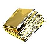 Yicare 10Pcs Rettungsdecke Rettungsfolie Emergency Blanket Erste Hilfe Decke Perfekte Ergänzung für den Erste-Hilfe-Kasten oder die Outdoor-Ausrüstung Notfalldecke Gold 60 * 210cm