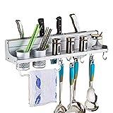 Gymy Stanzfreies Küchenregal aus Aluminium für Messer, Küchen- und Badezimmerzubehör, multifunktionales Aufbewahrungsregal, Aufbewahrung von Gewürzen, 50 cm