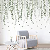 Hängende grüne Rebe Wandtattoo Aufkleber für Schlafzimmer Wohnzimmer, abnehmbare Eukalyptus grüne Pflanzen Blätter Wandkunst Wanddekoration Home Nursery Office Dekorationen (Hellgrün)