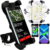 Fahrrad Handyhalterung, geeignet für iPhone X XR XS Max 5S 6S 5SE 6 7 8 Plus, 360 Grad Drehbar, Montage an Lenker, Oberrohr, Lenkervorbau - Schwarz