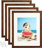 8x10 Bilderrahmen 4er Set aus gehärtetem Glas für 3 Displays - 5x7 Bild oder zwei 4x6 Fotos mit Matte 8x10 ohne Mattebraun_11x14