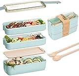 Eastor Brotdose, Brotdose 3 Schichten 900 ml, ökologische Bento-Box aus Weizenstroh, Bento-Box mit Gabel und Löffel, Umweltfreundliche Lunchbox Bento-Box für Erwachsene und Kinder (Blau)