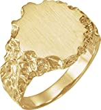 14ct Yellow Gold Men's Signet Ring with Brush Finished Top, Size T 1/2
