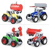PIGMAMA Baufahrzeuge für Kinder, Bauernhof, Traktoren, LKW und Anhänger, Set, Spielzeug, kann das Kopfende und den hinteren Anhänger teilen, Baustellenspielzeug, Geschenk für 3 Jahre