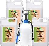 INSI GO Universal Insekten Spray - gegen Insekten, Ungeziefer und deren Larven - auf Wasserbasis - geruchlos - 4x5 Liter+5Liter Sprüher