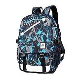 XZJY Luminous Herren Rucksack USB Lade Schulranzen Fashion Casual Travel Anti-Diebstahl Wasserdicht Laptop Herren Rucksäcke für Jungen Mädchen-Blue_gray_graffiti