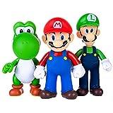 AINOLWAY 3 Stück / Set Super Mario Spielzeug - Mario & Luigi Figuren - Yoshi & Mario Bros Actionfiguren Mario PVC Spielzeugfiguren