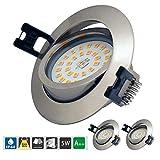 LED Einbaustrahler Dimmbar 5W 230V IP44 Ultra flach 3er Set Warmweiß 500LM LED Einbaustrahler Schwenkbar LED Spot für Wohnzimmer, Badezimmer, Bü