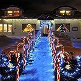 8 Stück Weihnachten Zuckerstangen Lichterketten, Solar LED Zuckerstangen Gartenstäbe Zuckerstange, Weihnachtsbeleuchtung Gartenleuchte Stangen Zuckerstangenstäbe für Außendekoration Weihnachten Deko
