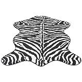 Home Teppich Fellimitat Zebra 110 x 150 cm Schlicht Und Modern fürs Wohnzimmer, Kinderzimmer, Schlafzimmer und die Küche geeignet, Versch. Größen Farben