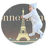 YATELI Runder Teppich Teppich Bonne Annee Eiffelturm Paris Bodenmatte rutschfest 27,6 Zoll Durchmesser für Wohnzimmer Schlafzimmer