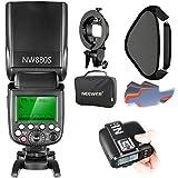 Neewer 2.4G Wireless 1/8000 HSS TTL Master/Slave Blitz Speedlite Set für Kamera mit neuem Mi Schuh, Enthält: NW880S Blitz, N1T-S Auslöser, S-Typ Halterung, 16x16 Zoll Softbox, 20 Stück Farb
