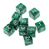 N-K PULABO Packung mit 10 Stück Six Sided Dice D6 Spielen von Dungeons u0026 Dragons D u0026 D TRPG-Brettspiel Grün Langlebig und nützlich Beliebt