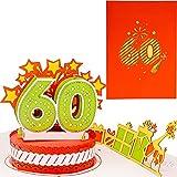 LIEBESSA® Geburtstagskarte zum 60. Geburtstag 3D Pop-Up Karte für Frau oder Mann - Handgemachte Jubiläum Glückwunschkarte, Geburtstagskarte mit Umschlag
