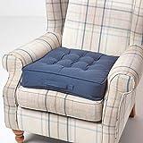 Homescapes großes Sitzkissen 50 x 50 cm, dunkelblau, Sitzpolster für Sessel und Sofas mit Tragegriff und Baumwollbezug, gepolstertes Matratzenkissen, 10 cm hoch, blau