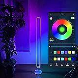 LED RGB Stehleuchte Eckleuchten Smart Stehlampe App Fernbedienung Touch Bedienung, Farbtemperaturen und Helligkeit Stufenlos, 24w Standleuchten für Wohnzimmer Schlafzimmer,Schwarz,App control