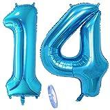 2 Luftballons Zahl 14, Nummer Luftballon Blau Mädchen Junge Jungs,40' Riesen Aufblasbar Helium Folienballon Blue Ballons Figuren für Geburtstag 14.Jahre Kinder Jungen Party Dekoration (xxxl 100cm)