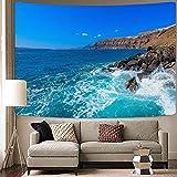 Mond Tapisserie psychedelische Wellen Wandbehang Hippie Mandala Tapisserie Meerwasser Hintergrund Stoff Tapisserie Decke A21 150x200
