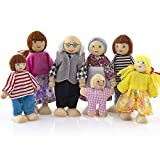 7 Personen Familie Holzpuppen,Puppenhaus Puppen Biegepuppen Holzpuppe Geschenk für Kinder