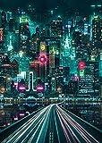 ZHANGFAN Künstlerische Leinwand von Neon-Stadt- und Wandkunst mit modernem High-Definition-Druck für Wohnzimmerfarben, Poster 30 x 45 cm