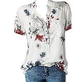 Eaylis Frauen Kurzarm Bluse Druck Pocket Top Plus Size Easy Top Shirt
