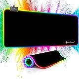 RuoCherg RGB Mauspad, 7 LED Farben 14 Beleuchtungs-Modi 800 x 300 mm Gaming Mousepad mit Wasserdicht Oberfläche, rutschfeste Gummibasis Mouse Matte für Professionelle Gamer, PC, Laptop
