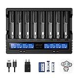 18650 Ladegerät 8 Einschübe XTAR VC8 21700 Ladegerät mit LCD-Anzeige für 3,6 V 3,7 V Li-Ion 10440 16340 17670 26650 1,2 V NI-MH AA-Ladegerät Testen Sie die tatsächliche Kapazität der Batterien
