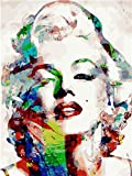 HNDXLHH Malen Nach Zahlen Erwachsene Farbe Monroe Painting by Numbers for Adult Anfänger Malen Nach Zahlen Kinder,DIY Canvas Oil Painting Paint by Numbers Ohne Rahmen 40X50 cm