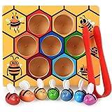 YEXINTMF Geschicklichkeit Spielzeug for Kleinkinder, Clamp Bee Hive zu Flash-Karten, Farbe Sorting Holzpuzzle, pädagogischen Geschenk Spielzeug