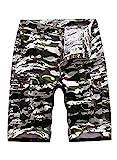 CORAFRITZ Herren Cargo-Shorts mit Camouflage-Muster, lockere Passform, leichte Camouflage-Shorts mit mehreren Taschen Gr. M, weiß