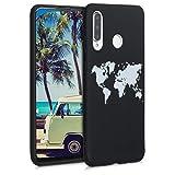 kwmobile Case kompatibel mit Huawei P30 Lite - Hülle Handy - Handyhülle - Travel Umriss Weiß Schwarz