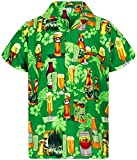 V.H.O. Funky Hawaiihemd, Kurzarm, Bierflaschen, Grün, 4XL