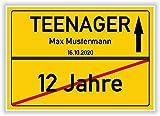 Von 12 Jahre zum Teenager - Ortsschild - Bild - persönliches Geschenk zum 13 Geburtstag mit Name und Datum - personalisierte Geschenkidee Hinweisschild Party Deko Karte Junge Mädchen