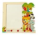 Hess Holzspielzeug 30500 - Garderobe aus Holz, Motiv Dschungel, mit Wandspiegel und Haken, für Kinder, ca. 37 x 35 x 8 cm, handgefertigt, als Blickfang in jedem Kinderzimmer und F