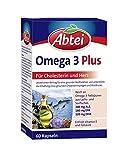Abtei Omega 3 Plus - Nahrungsergänzungsmittel reich an Omega-3-Fettsäuren für den Cholesterinspiegel und die Herzfunktion - mit Vitamin E und Folsäure - 1 x 60 Kapseln