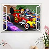 Nonebranded wandtattoo Baby Animation Wallpaper Aufkleber Mickey Mouse Donald Duck Racing 3D Fake Fenster Kinderzimmer PVC Aufkleber 70 * 50