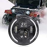 7' Runder LED-Scheinwerfer, 75W Wasserdichter Angel Eye Ring DRL & Bernsteinfarbener Blinker H/L-Strahl für Wrangler Harley Davidson