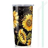 NymphFable 20oz Thermobecher Kaffeebecher To Go Sonnenblume Doppelwand Edelstahl Becher Mit Deckel Und Strohhalm