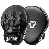 LangRay Handpratzen Kampfsport Boxen, 1 Paar Boxpratzen aus Kunstleder Kickboxen Pratzen für Kinder und Erwachsene MMA Muay Thai Karate, Schwarz